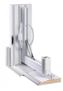 Détail de la conception d'une porte patio en PVC