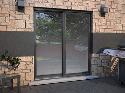 Exemple de porte patio hybride installée